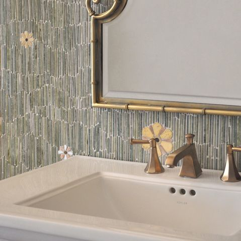 Meadow Stone Mosaic - Meadow, a natural stone mosaic backsplash, shown in  Kay's Green, Wujan Jade, Chartreuse tumbled, Emperador Dark, Joan...