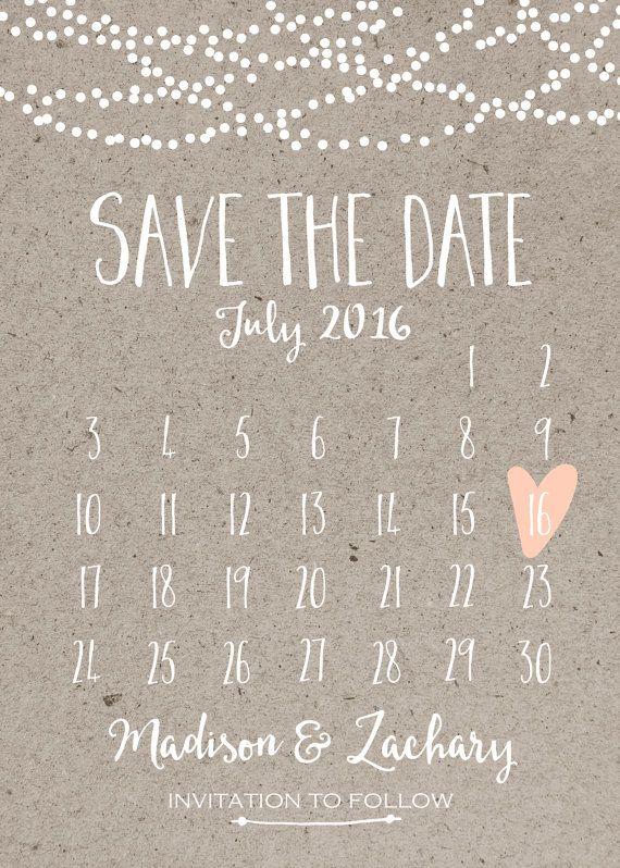 Save the Date Card, Calendar Printable, Simple Wedding Announcement