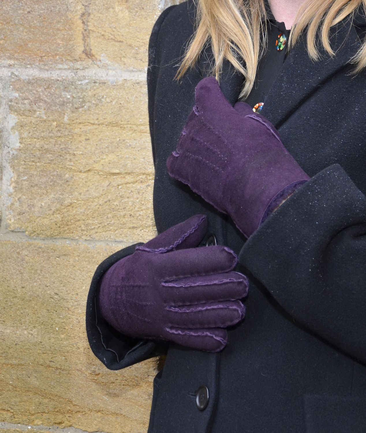 Womens leather gloves purple - Womens Purple Sheepskin Glove From Southcombe Gloves