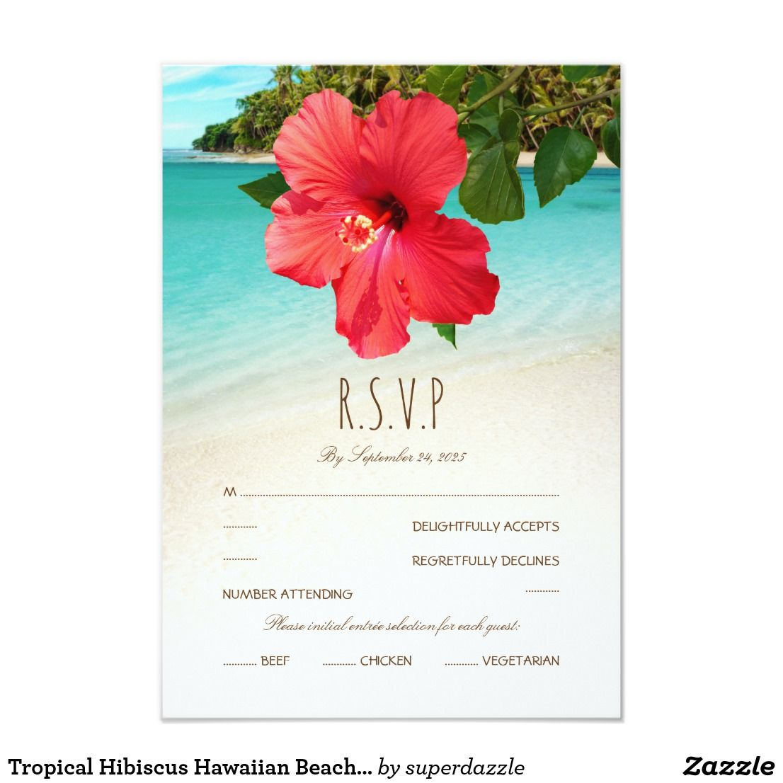 Tropical Hibiscus Hawaiian Beach Themed Wedding Card | Coconut palm ...
