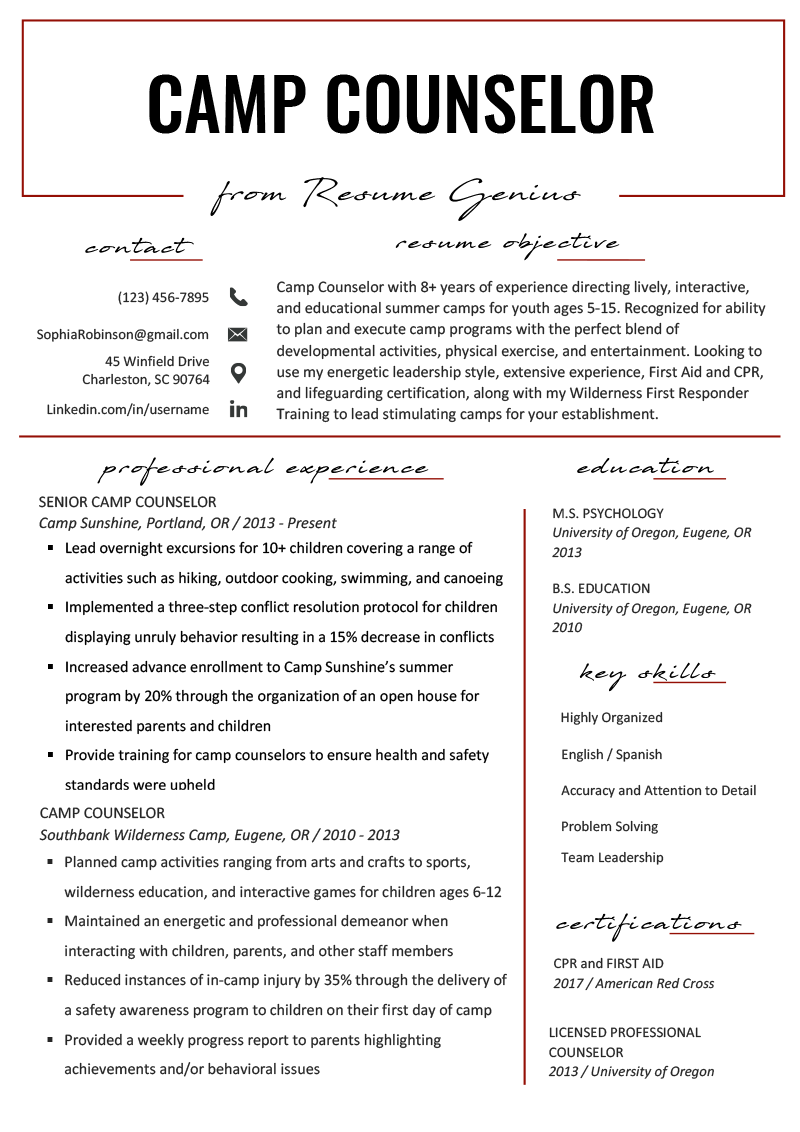 Camp Counselor Resume Sample & Tips | Resume Genius | Resume ...