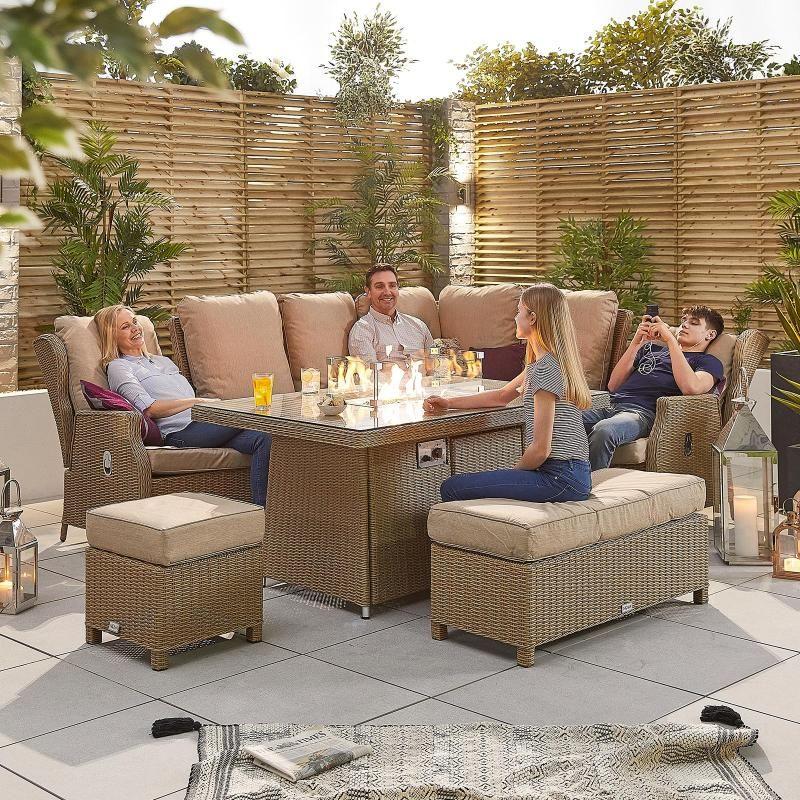 Skylar 2B Casual Dining Corner Sofa Set with Firepit Table ...