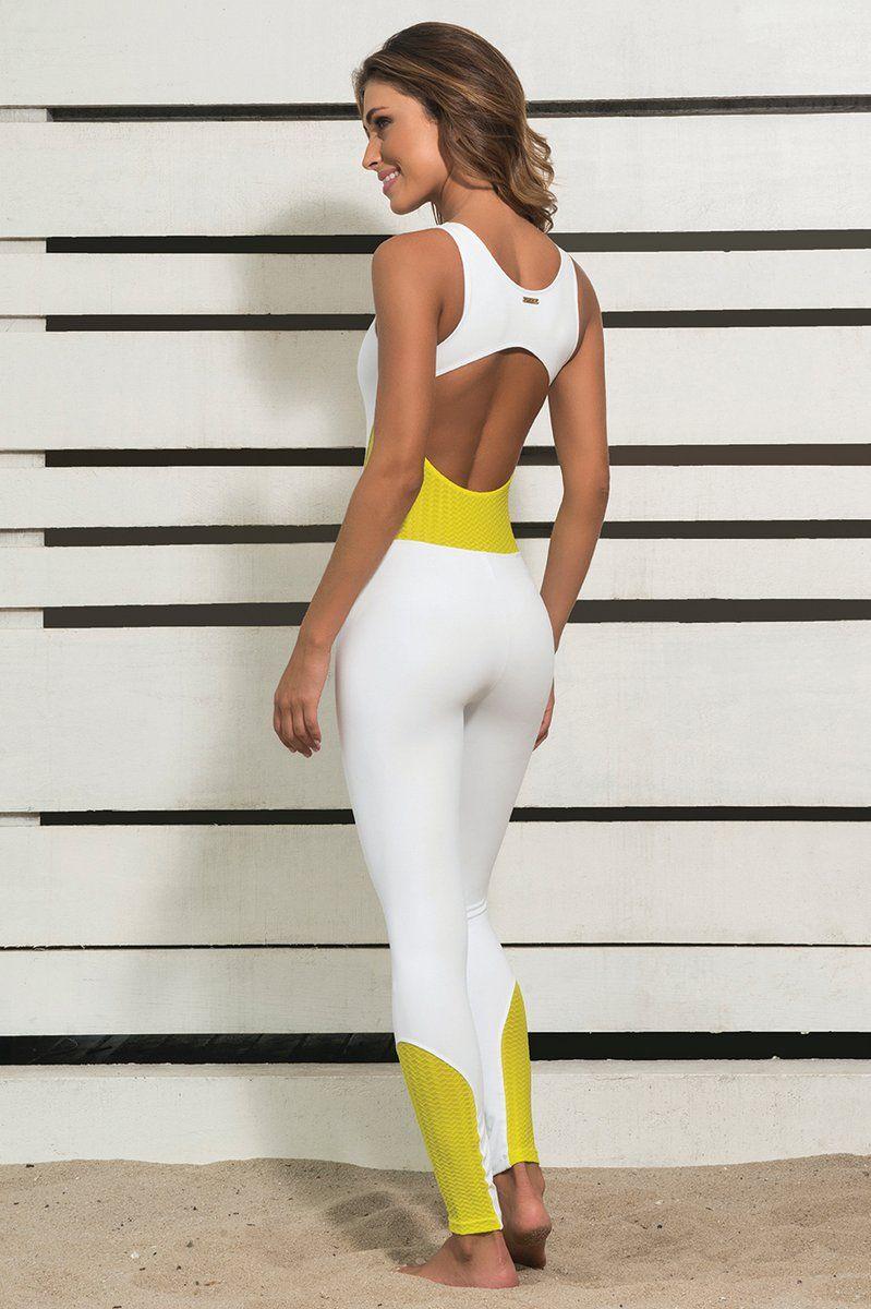 macacao-branco-e-amarelo-ksl-ksl917 Dani Banani Moda Fitness