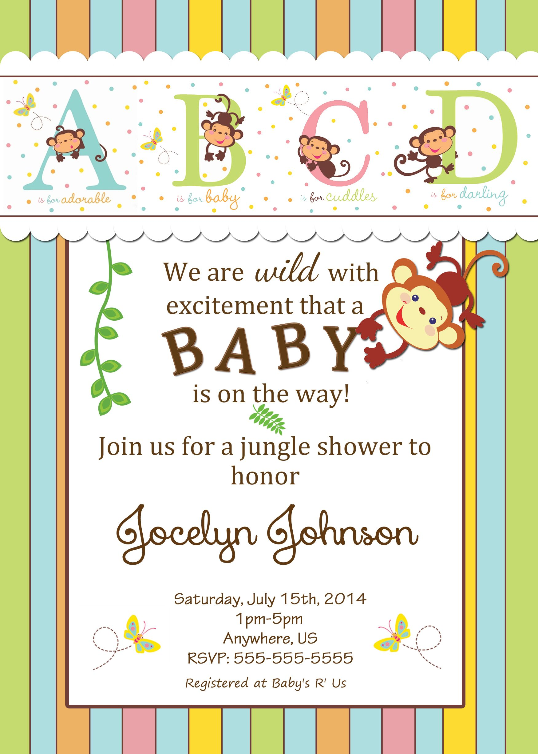 safari sizing for printable showers ba shower invitations baby intended ideas x free haskovo