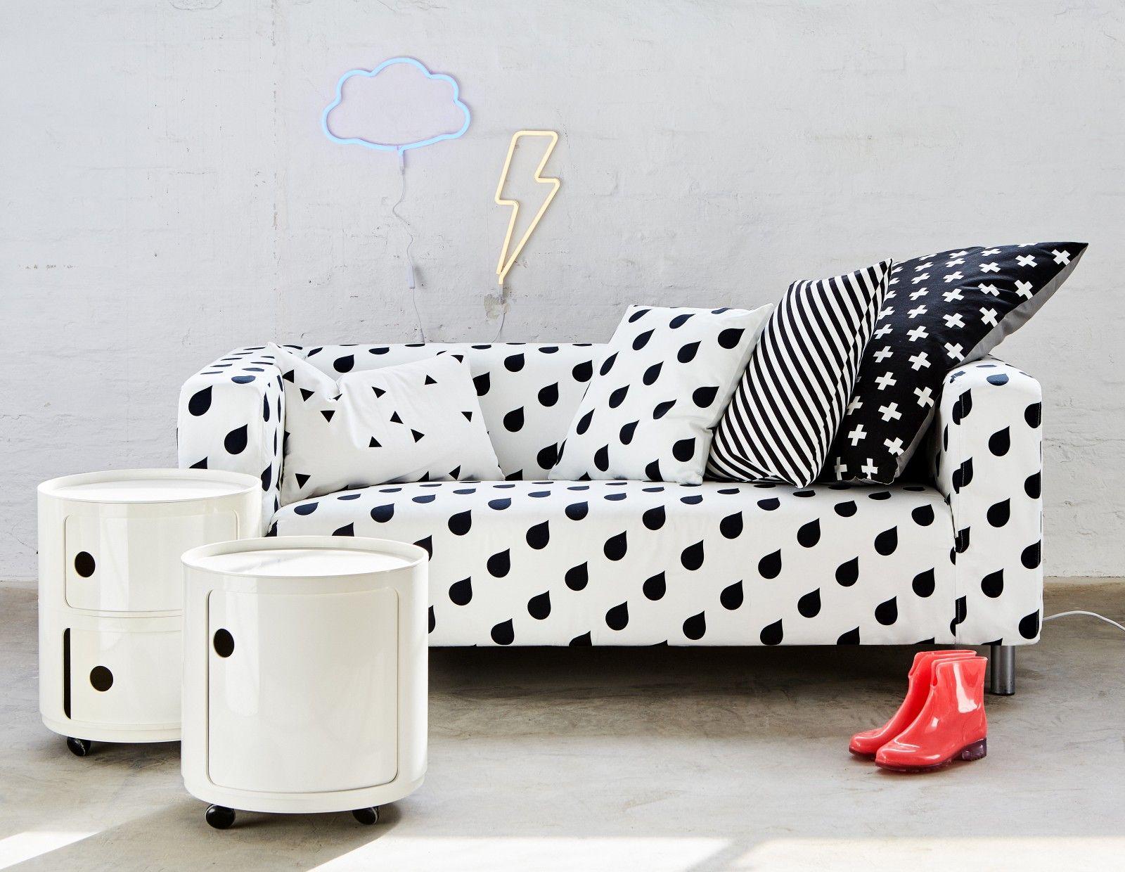 Water Drops Ikea Klippan Cover Cushions On Sofa Black And White Sofa Ikea Klippan Sofa