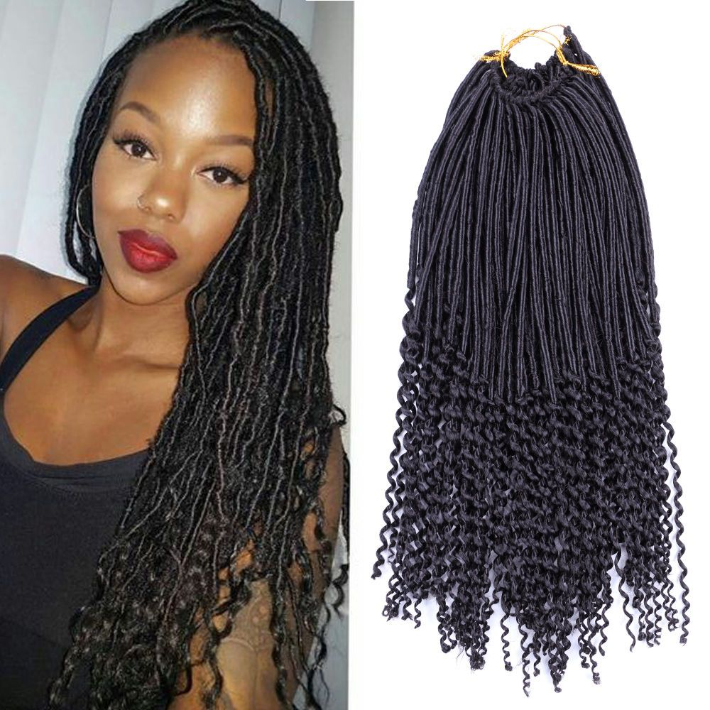 1pcs Crochet Braids With Curly Hair Faux Locs Curly Ends Dreadlock Extensions Bob Braids Hairstyles Hair Styles Braid Styles