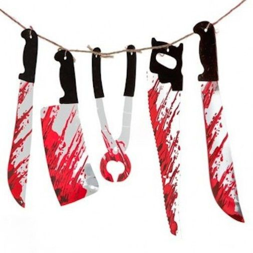 halloween bloody weapons garland prop decoration blood tools saw knife hanging - Bloody Halloween Decorations