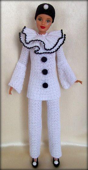 PDF Barbie Pierrot (pattern English) | Barbie, Amigos y Ropa