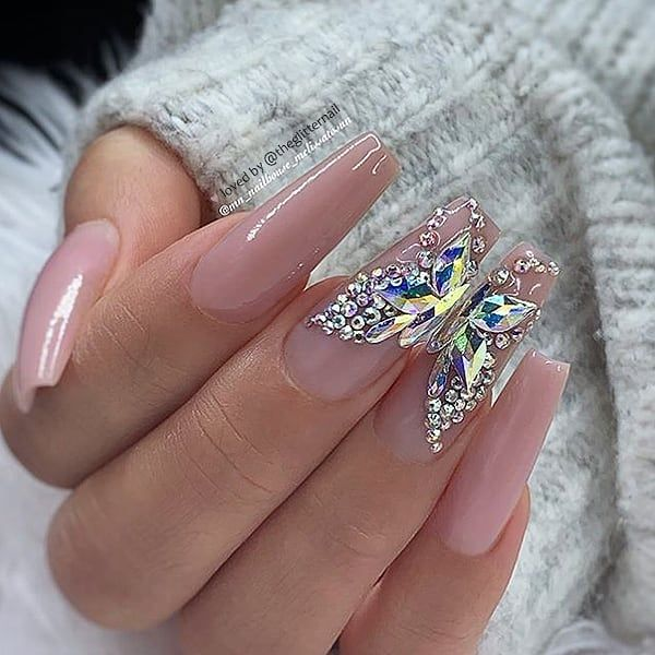 "� TheGlitterNail on Instagram: ""�� Rosy Nude with Crystal Butterfly on Coffin Nails � • � Nail Artist: @mn_nailhouse_melissatosun � Follow them for more gorgeous nail art…"""