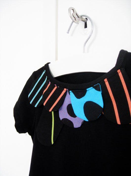 Varpunen: Lek med stoffbiter på t-skjorte/kjole