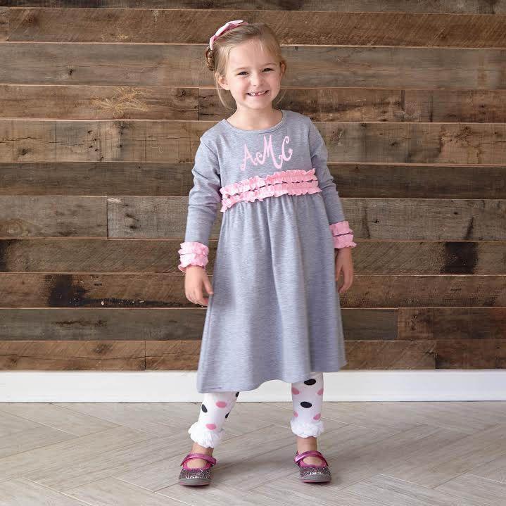 Gray Long Sleeve Medium Pink Squinchy Cotton Dress