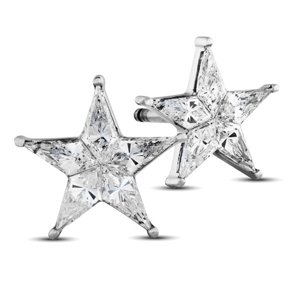 These Star Shaped Diamond Earrings Feature 24 Carats Of Kite Diamonds Set In 18k White Gold Stud Backings They Are Roximately 5mm From Point To