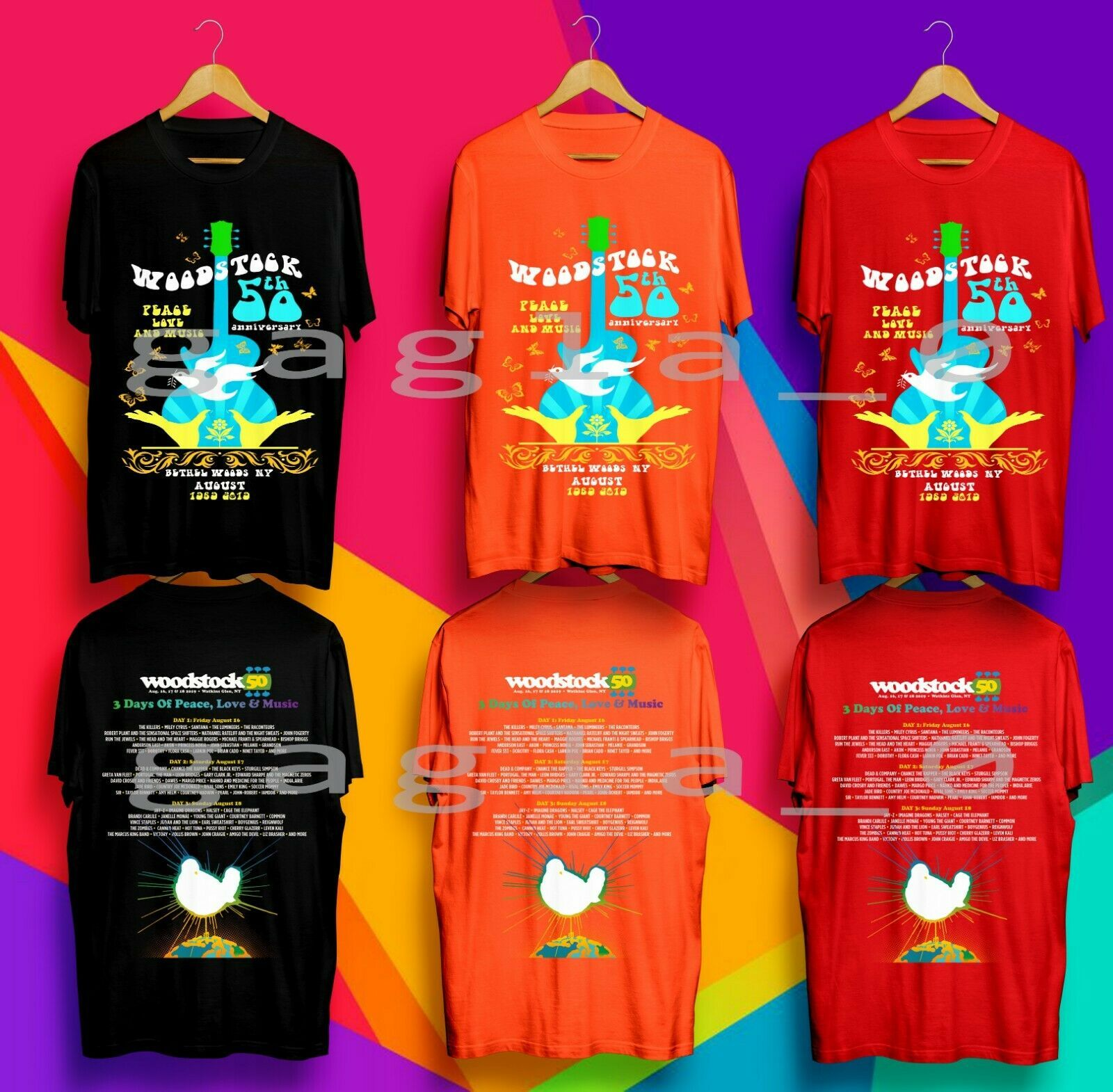 3023c4716e Woodstock 50TH Anniversary Aug 2019 Multi Colour Gildan TShirt | eBay