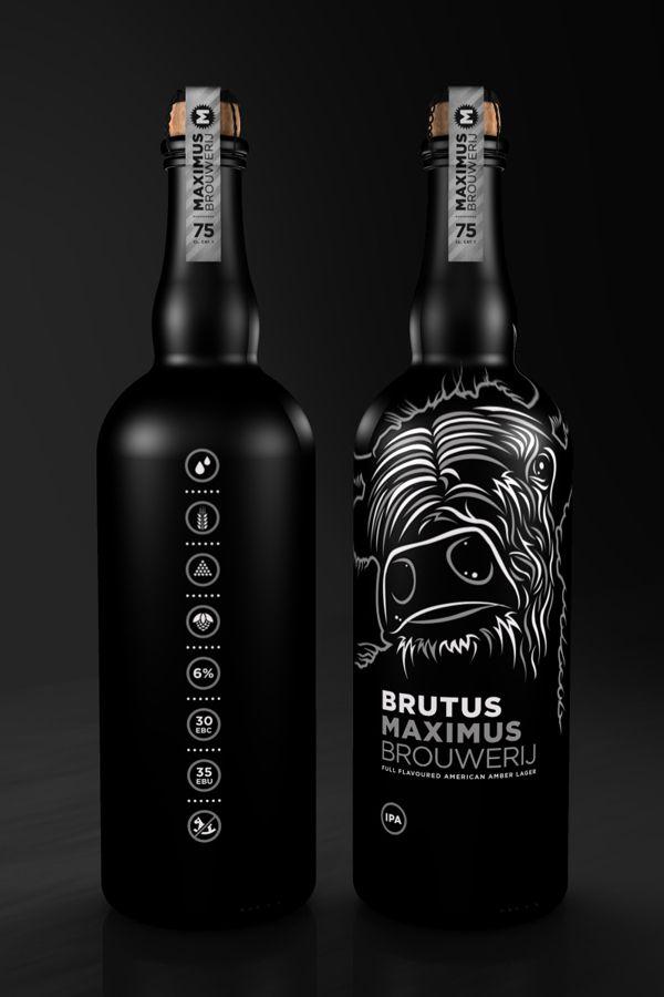 Maximus Brouwerij, 75 cl. bottle Brutus by Leffe Goldstein, via Behance Wild beer #packaging PD #stilovino