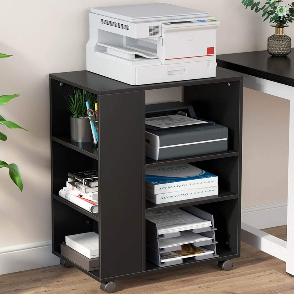 Amazon Com Tribesigns Mobile Printer Stand Modern Printer Cart File Cabinet With Storage On Wheels Open Shelves Comput In 2020 Printer Stand Shelves Open Shelving