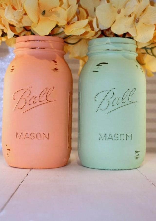 pinterest mason jar bridal shower favors%0A   Painted Mason Jars Peach Mint Green Painted Mason Jars Wedding        Best Free Home Design Idea  u     Inspiration