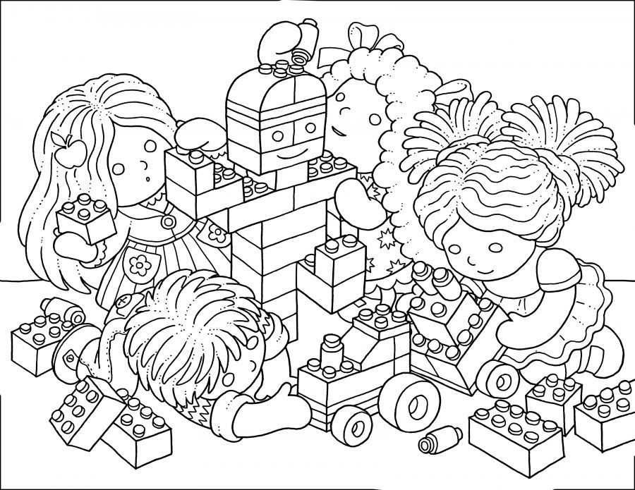 Colouring Page Playing With Blocks Coloring Pages Colouring Pages Color