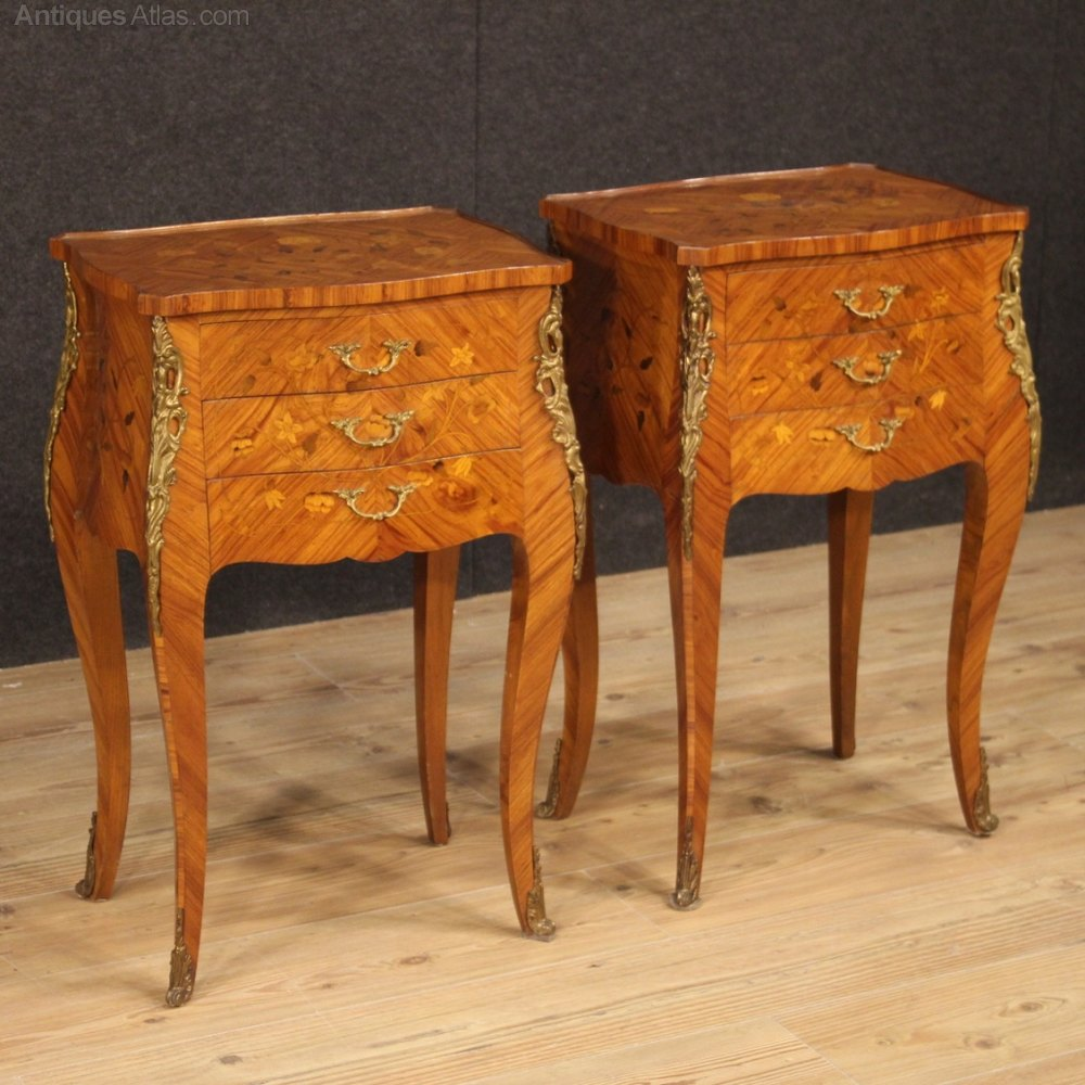 Antiques Atlas Pair Of Inlaid French Bedside Tables French