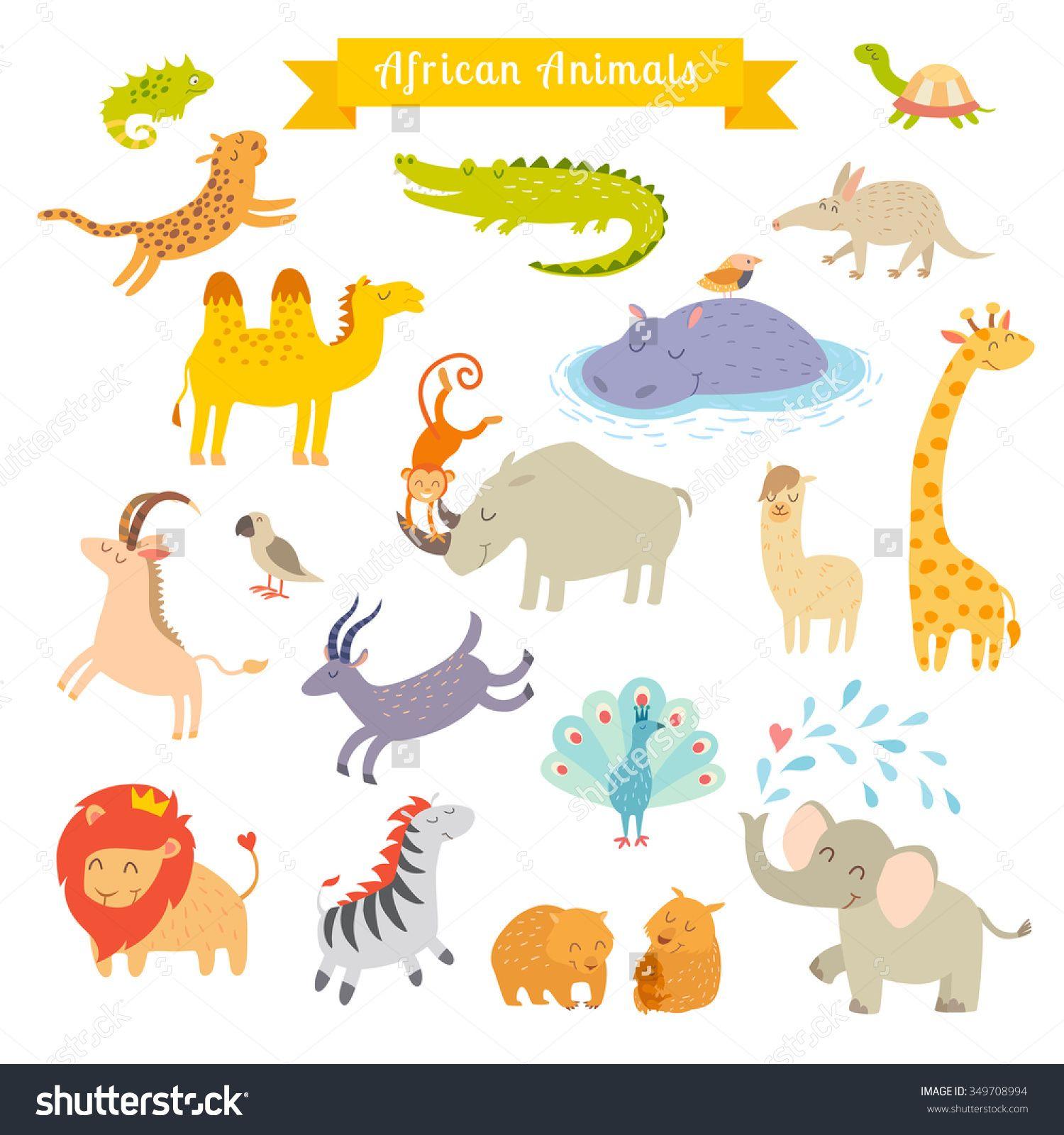 Africa Animals Vector Illustrationafrica Animals Cartoon Styleafrica Animals Set Africa