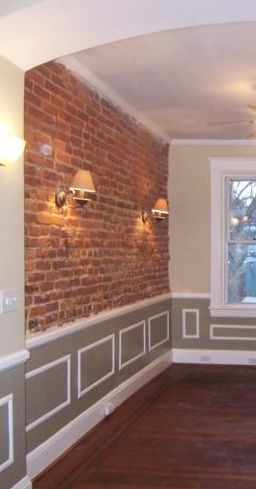 Exposed Brick With Crown Moulding