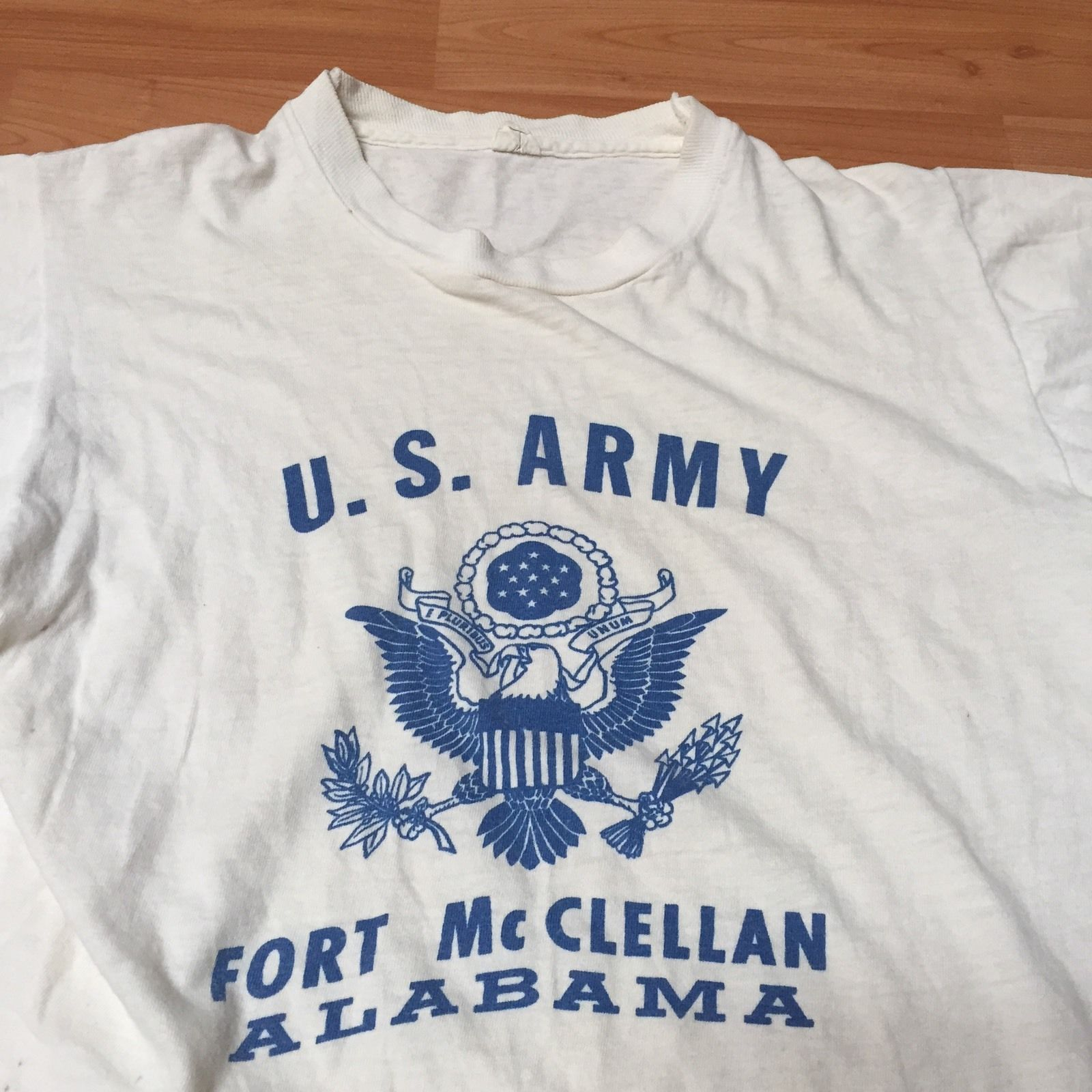 T shirt white ebay - Vintage 1960 S Fort Mcclellan U S Army Military Cotton Tee Shirt Nr Ebay
