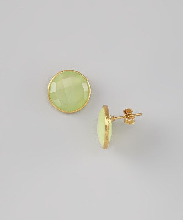 Look at this #zulilyfind! Peridot & Gold Round Earrings by Best Silver #zulilyfinds