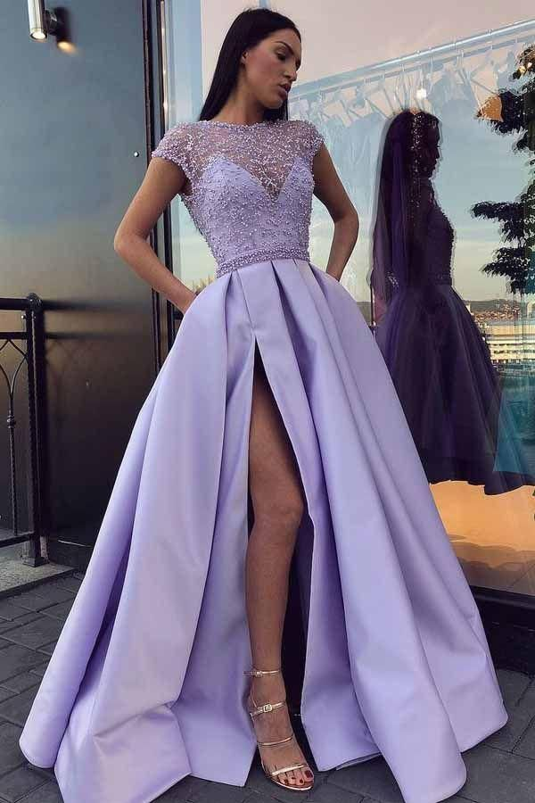 Chic Satin Kurzarm Scoop Split Perlen Lila Schlitz Open Back Long Prom Dresse …   – Products