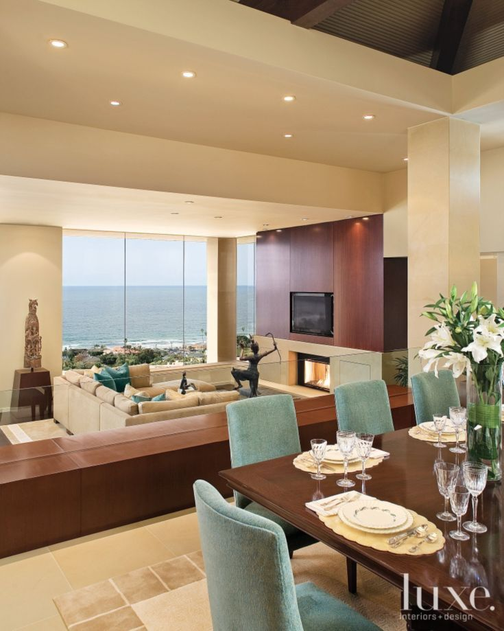 contemporary neutral dining room with living room access 47438