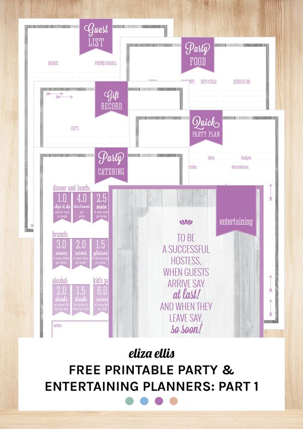 Free Printable Party \ Entertaining Planners Part One by Eliza - free printable guest list
