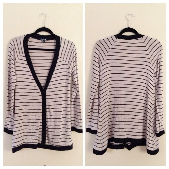 LAST CHANCE❗️Brown & Black Striped Cardigan Preloved cardigan/sweater, worn a handful of times, still in good condition. Long v-neck, black buttons down center front.❌NO TRADES OR PAYPAL❌ Forever 21 Sweaters Cardigans