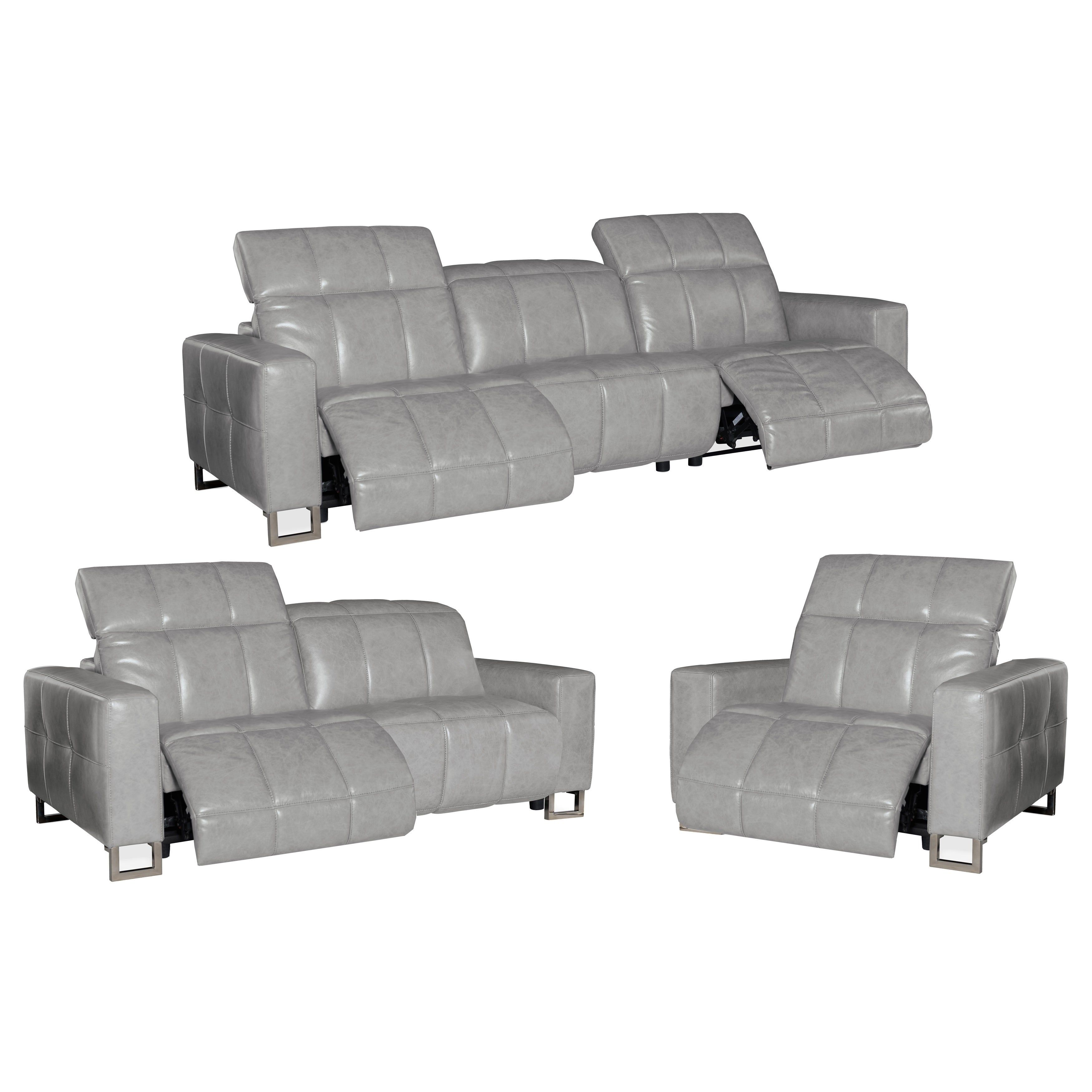 Prime Bombay Grey Top Grain Leather Power Reclining Sofa Loveseat Ocoug Best Dining Table And Chair Ideas Images Ocougorg