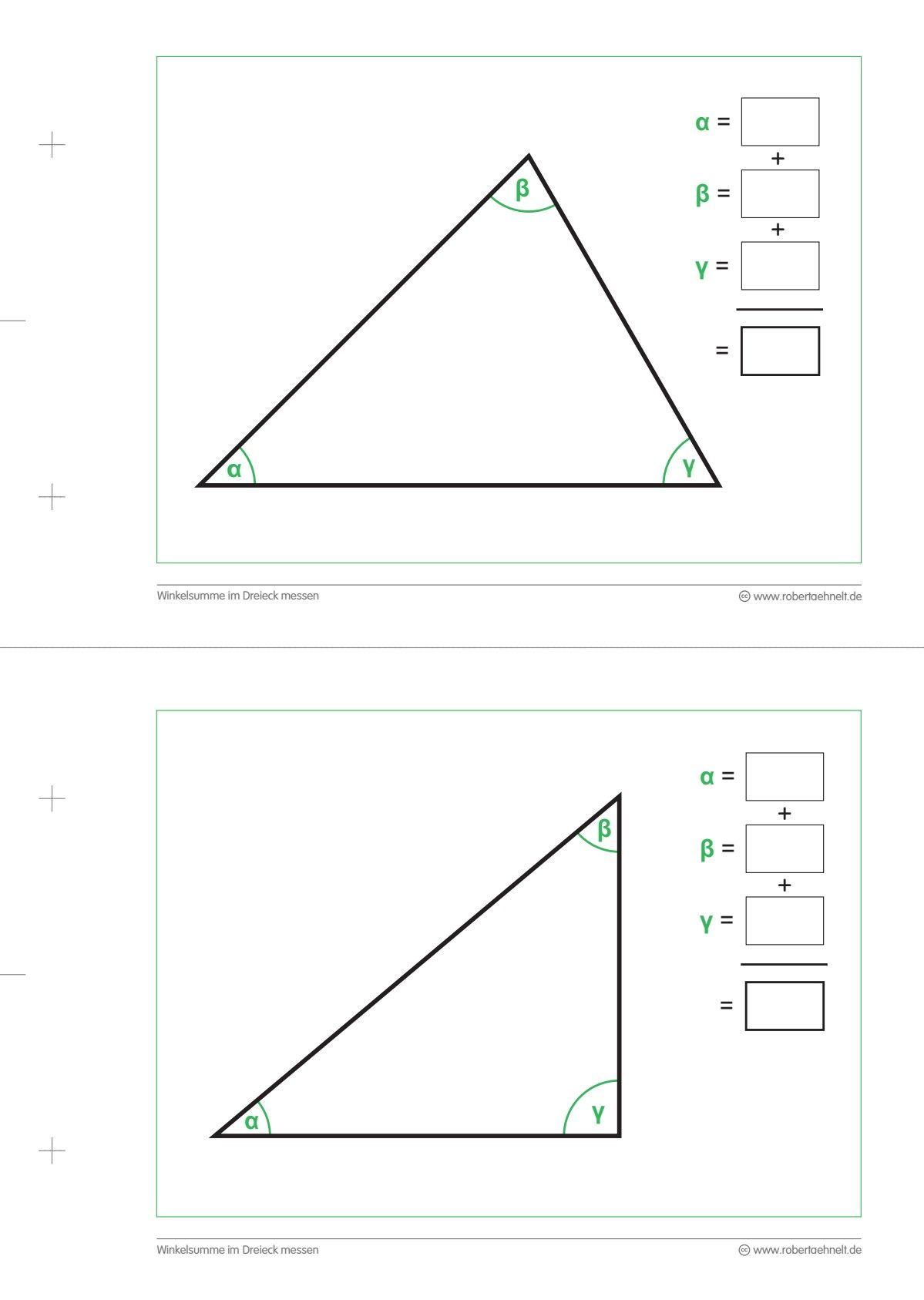 Geometrie Arbeitsblatt A20 lang   Dreieck Winkelsumme   Mathe ...