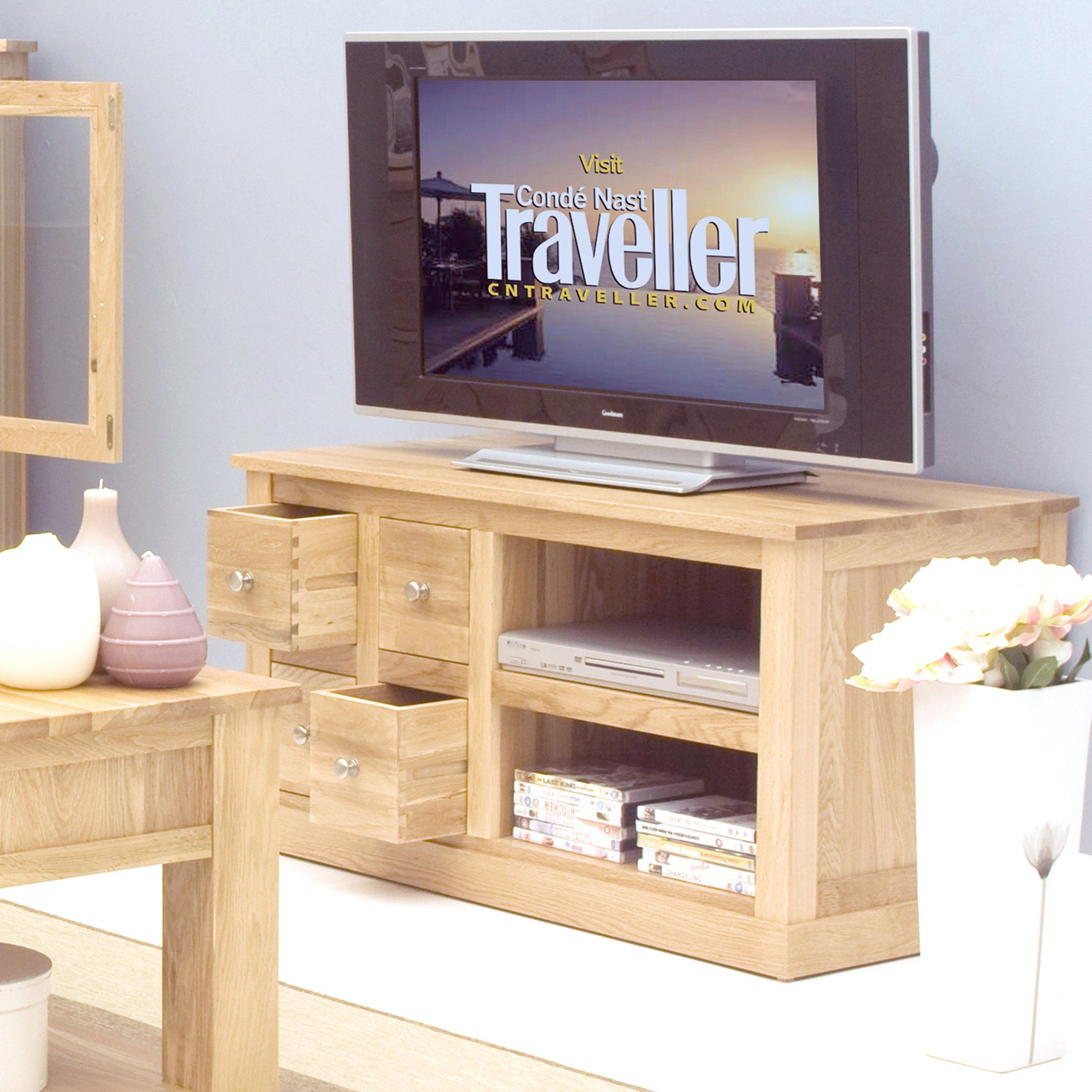 mobel oak four drawer television cabinet by harley lola