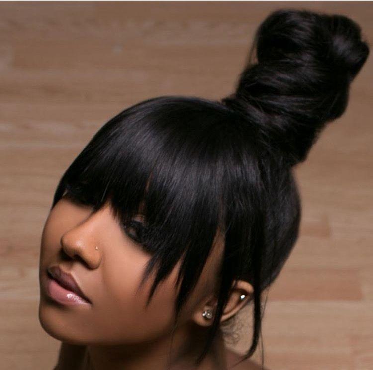 top knot bun w bangs hair pinterest bangs ponytail