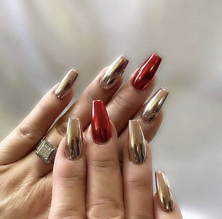 Gold And Red Chrome Nails Thenailboss
