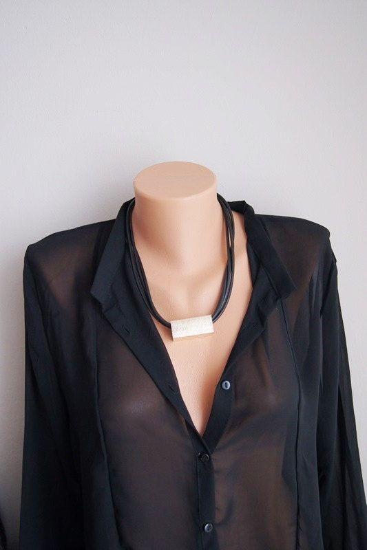 FREE SHIPPING / NECKLACE Multi strand black necklace, String necklace, Modern leather rope necklace