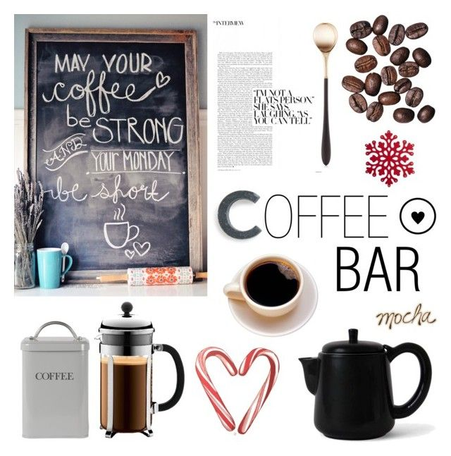 """coffee bar"" by southernpearldesigns ❤ liked on Polyvore featuring interior, interiors, interior design, home, home decor, interior decorating, Sparq, Sowden, Garden Trading and Bodum"