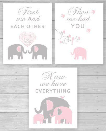 canvas prints elephant girl nursery decor pink and gray elephant art for baby girls