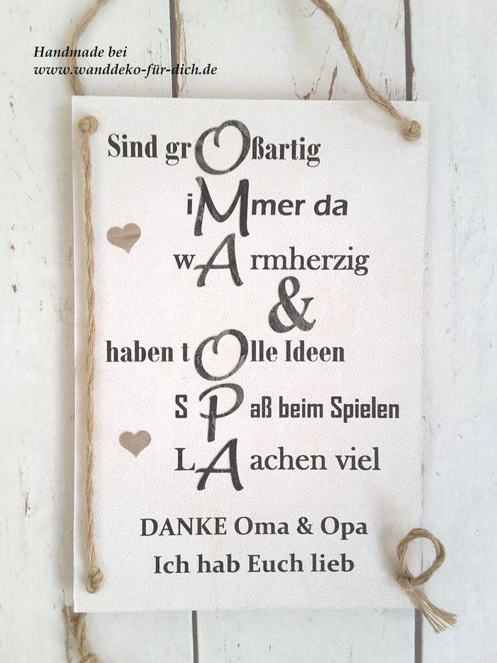 Geschenk mit bleibendem Wert für Großeltern, HANDMADE Schild Oma+Opa