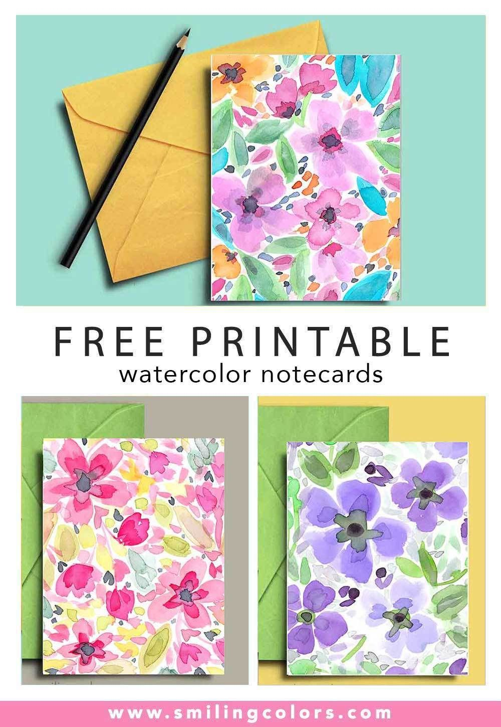 Free Printable Watercolor Notecards That You Can Download Now