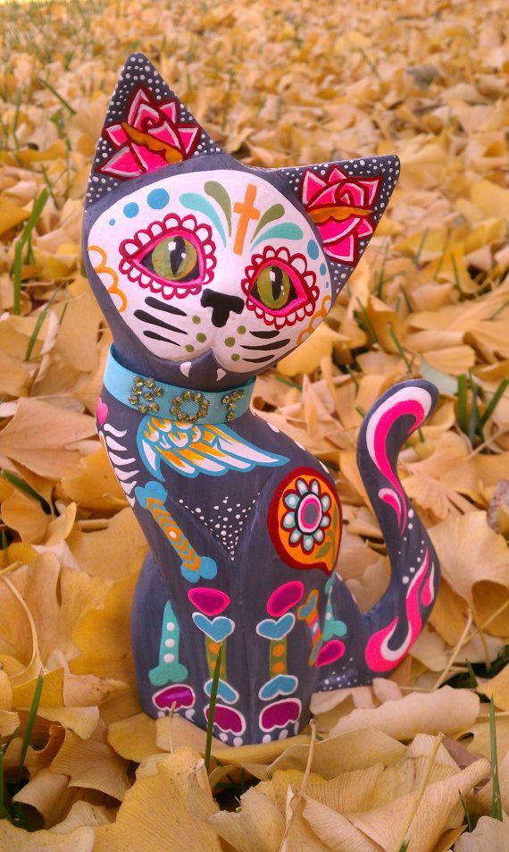 MEXICAN DAY OF THE DEAD SUGAR SKULL CAT ORNAMENT Statue FIGURINE Art Decoration