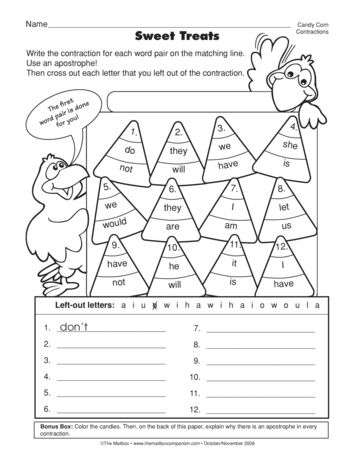 This worksheet requires students to form and write contractions