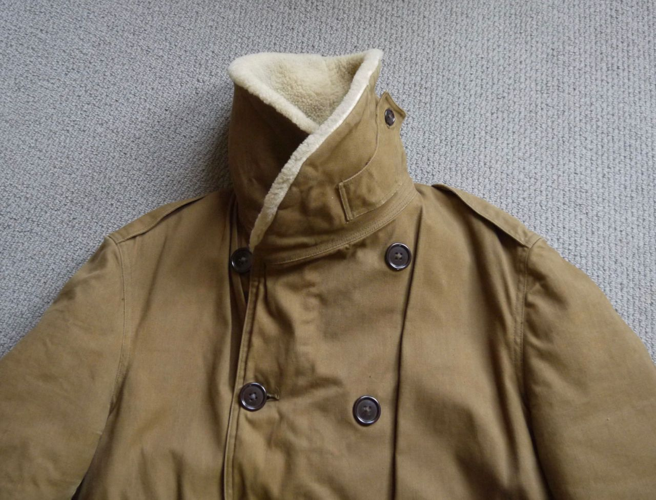 Vintage WWII 1940 Canadian Army Eaton Company Shearling and Canvas Mackinaw  Coat