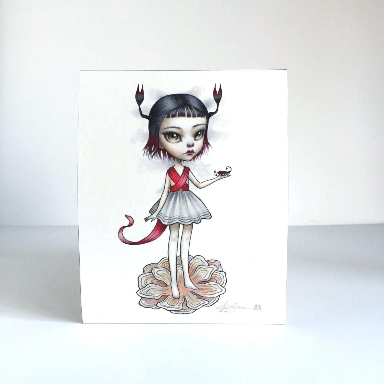 Escorpio zodiaco chica firmada 8 x 10 lowbrow de surrealismo