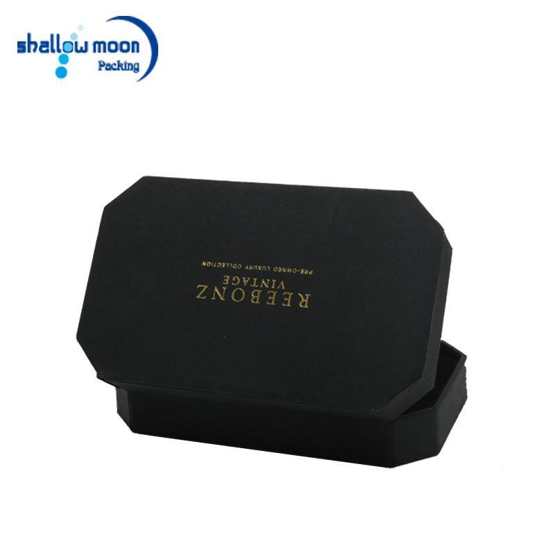 Kundenspezifisches Logo Luxusschmuck Verpackung Pappkarton mit silbernem Hot-Stamping-Logo, ...