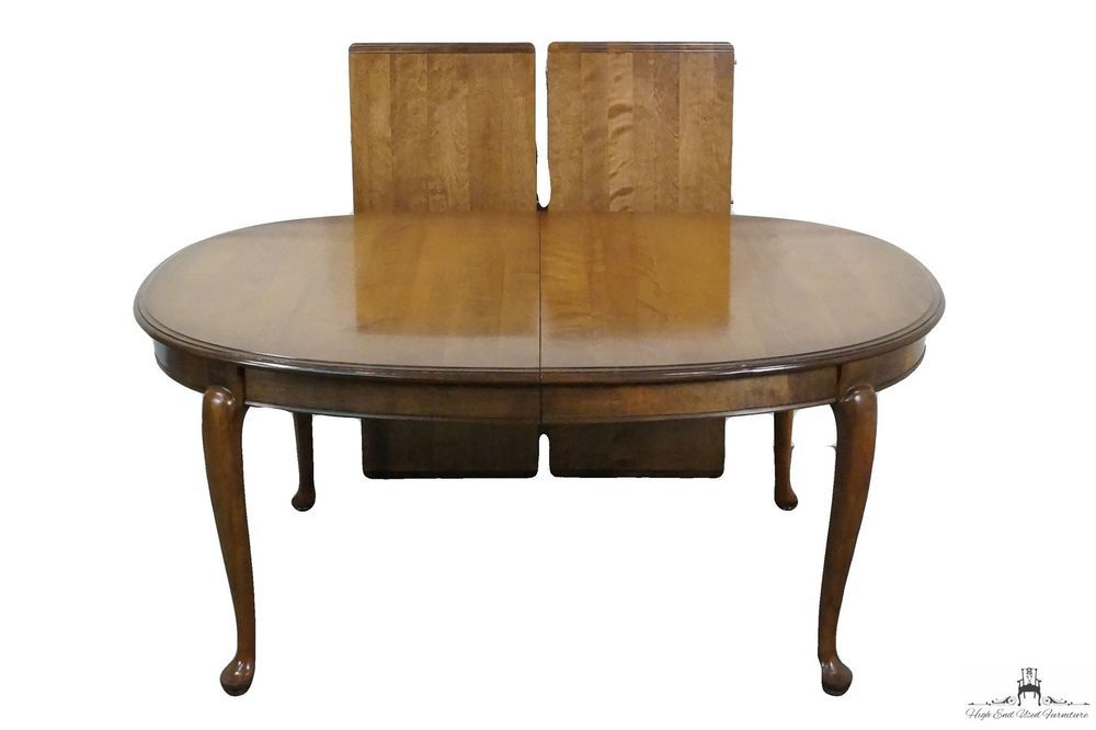 Ethan allen classic manor 100quot oval queen anne dining for Ethan allen dining room tables