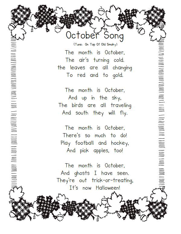 october songspdf preschool fall songskindergarten songspreschool halloweencalendar - Halloween Song For Preschool