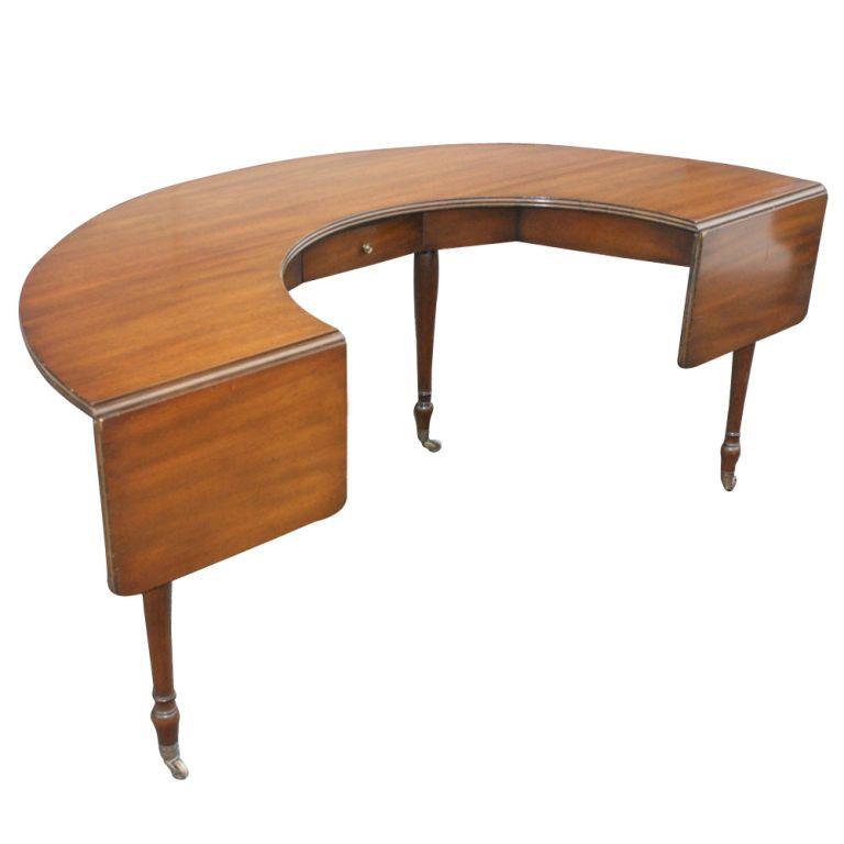 Kittinger Semi Circular Dropleaf Walnut Desk 1stdibs Com Furniture Walnut Desks Mid Century Modern Furniture