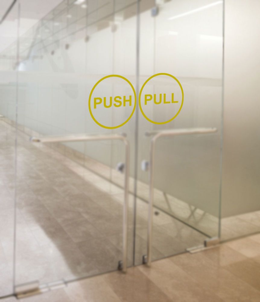 Pull Door Sticker & Image Is Loading 1Pair-Horizontal-Push ...