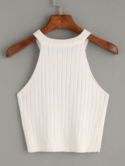 latest discount get new new images of Top tejido tank -blanco-Spanish SheIn(Sheinside) | Trendy ...